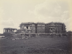 Views in Mysore. Ruined temple of Hallabeed [Hoysalesvara Temple, Halebid]. General view of the west side